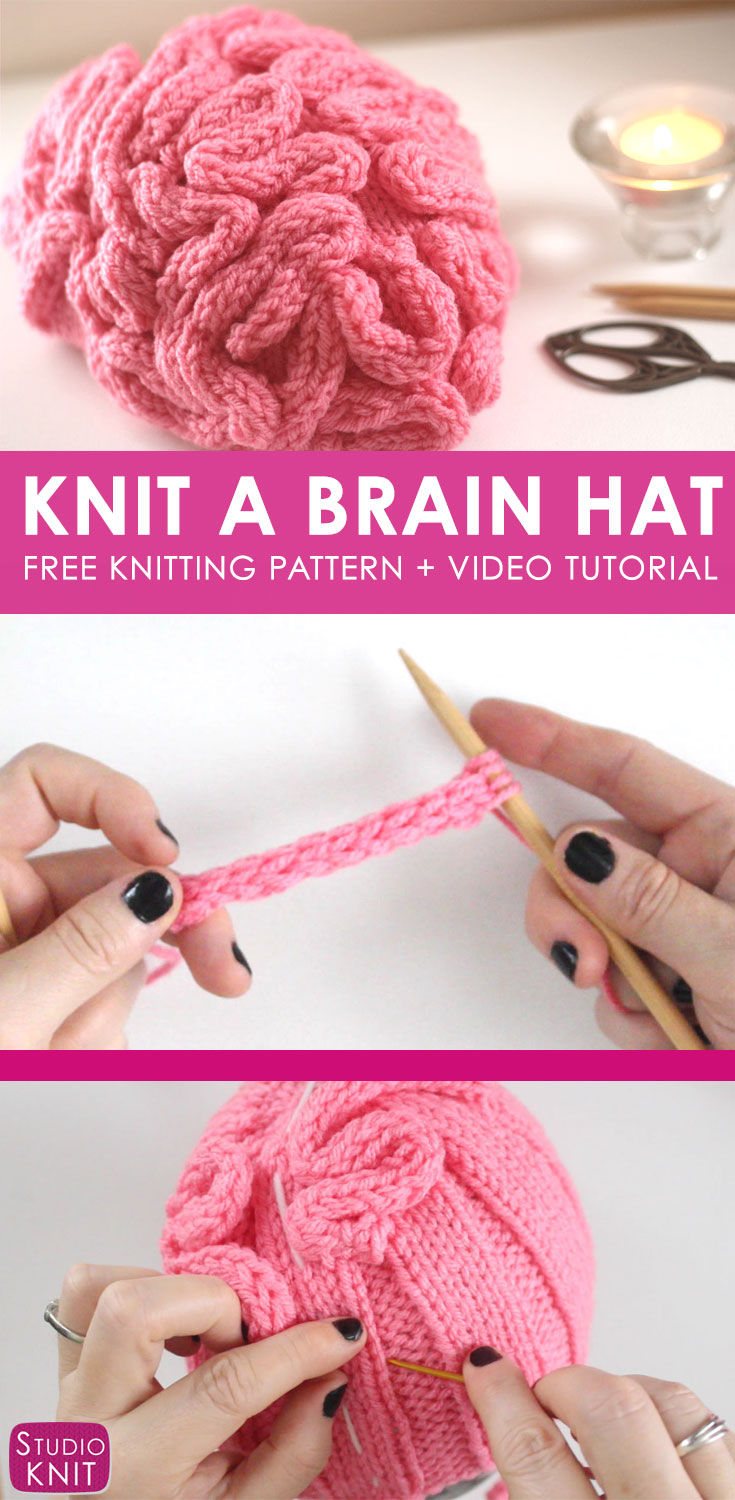 Video tutorial for how to knit a funny brains hat.
