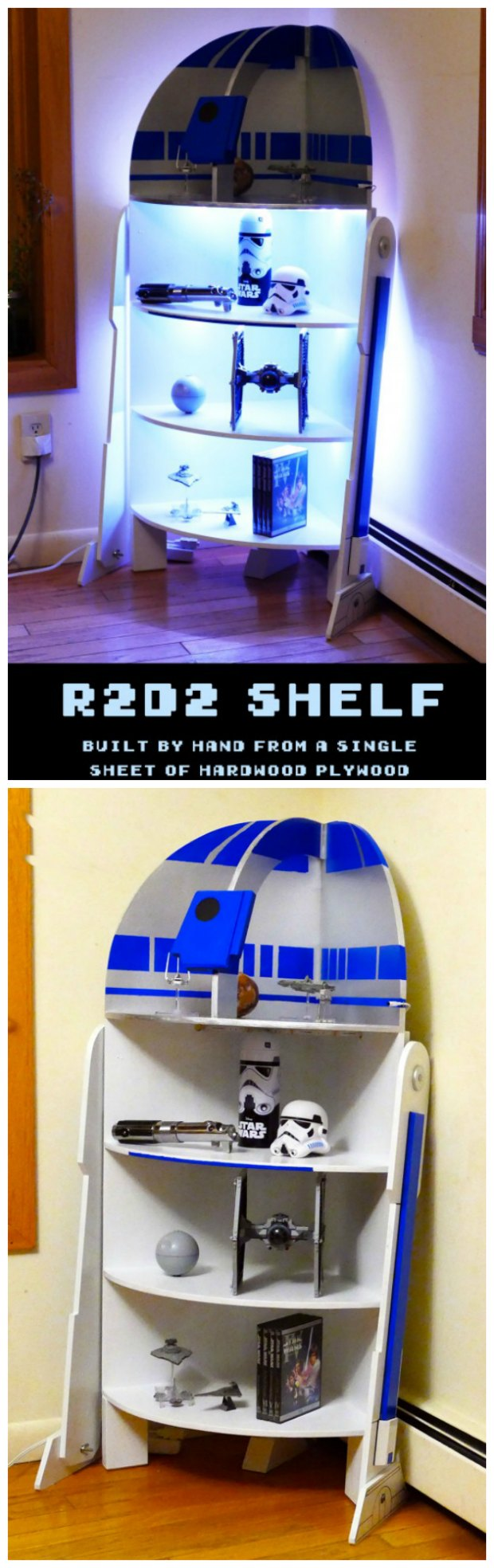 Plans for a DIY R2D2 shelf with lights to build.