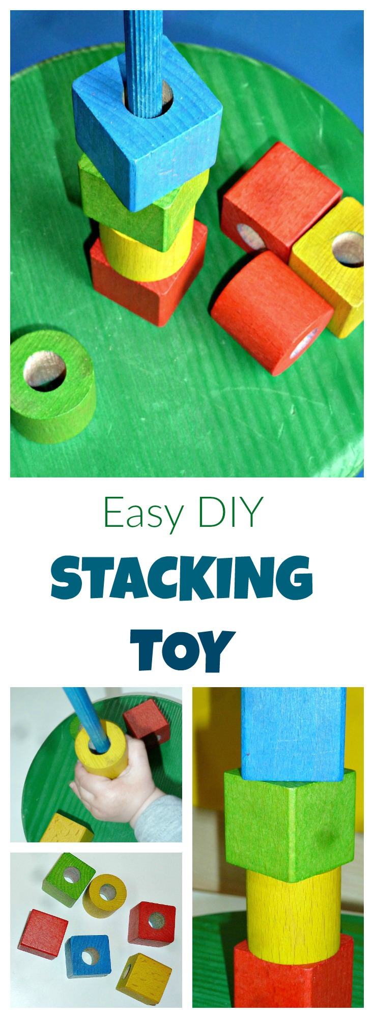 make a colorful homemade wooden stacking toy for your child. It also makes an excellent DIY present for your friends' toddlers!