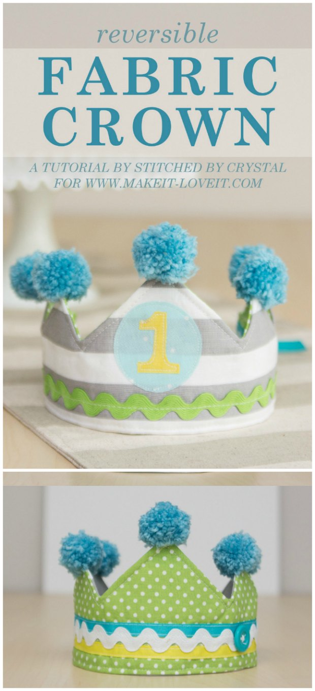 Free pattern & tutorial for a reversible fabric crown for kids