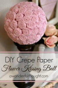 DIY Crepe paper rose kissing ball. Cute for weddings, Valentines etc