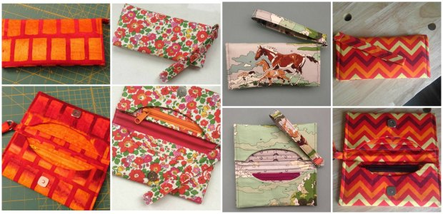 Sewing wallets. The Pop To The Shops Wallet, student examples