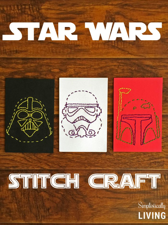 Star Wars characters stitching cards. Free printables to download + tutorial.
