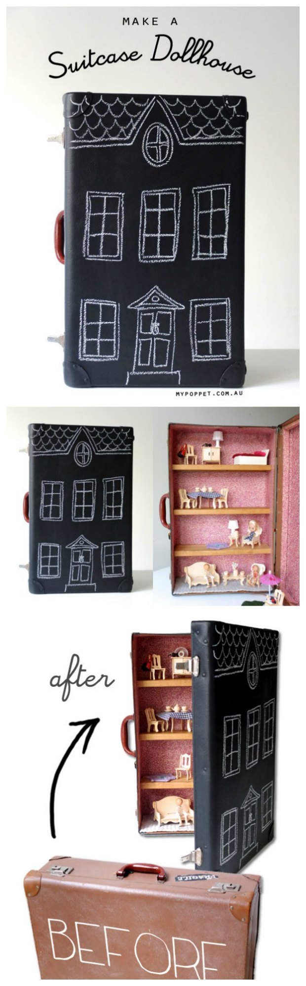 How to turn an old suitcase into a portable dolls house.