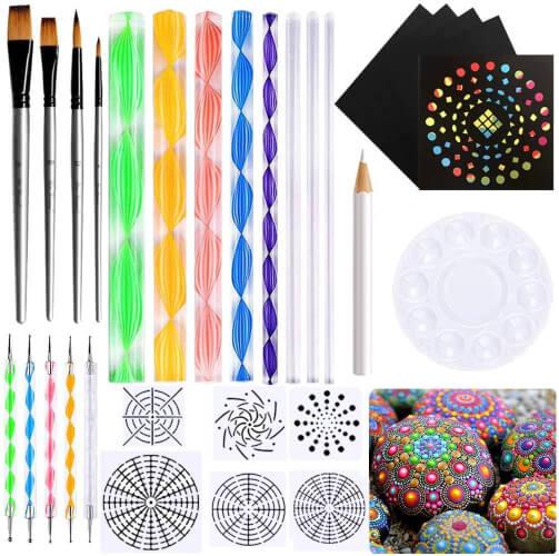 31PCS Mandala Dotting Tools Set Kit for Beginners Painting Mandalas Rocks with Instructions
