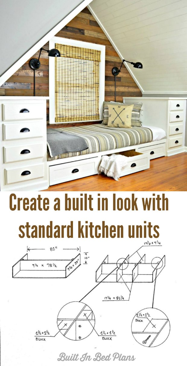Make a built in bed with standard kitchen units. Plans and step by step photos supplied so you can make your own cool hang out space.