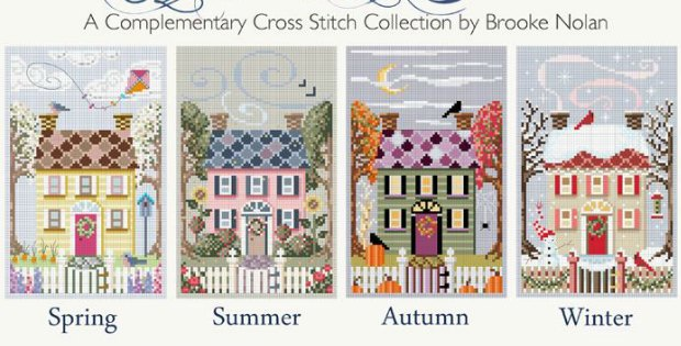 4 Seasons Cross Stitch Houses