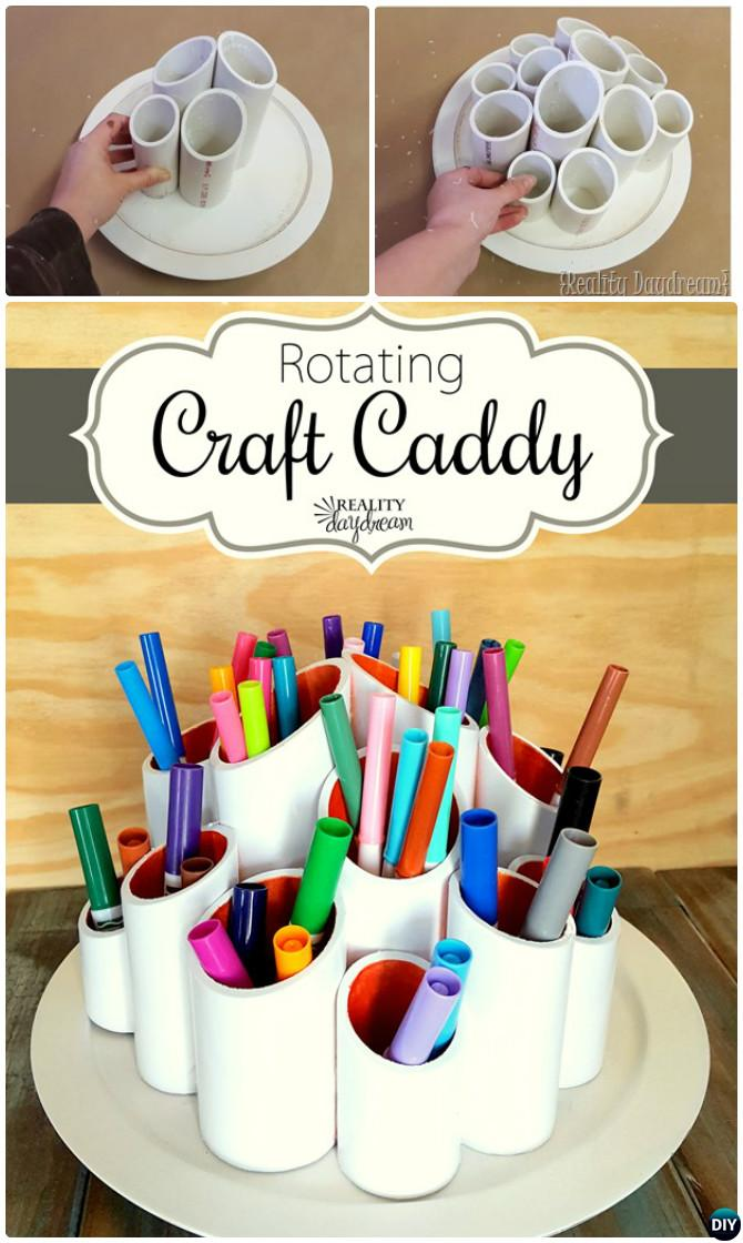Simple DIY tutorial to make a custom craft caddy that spins.