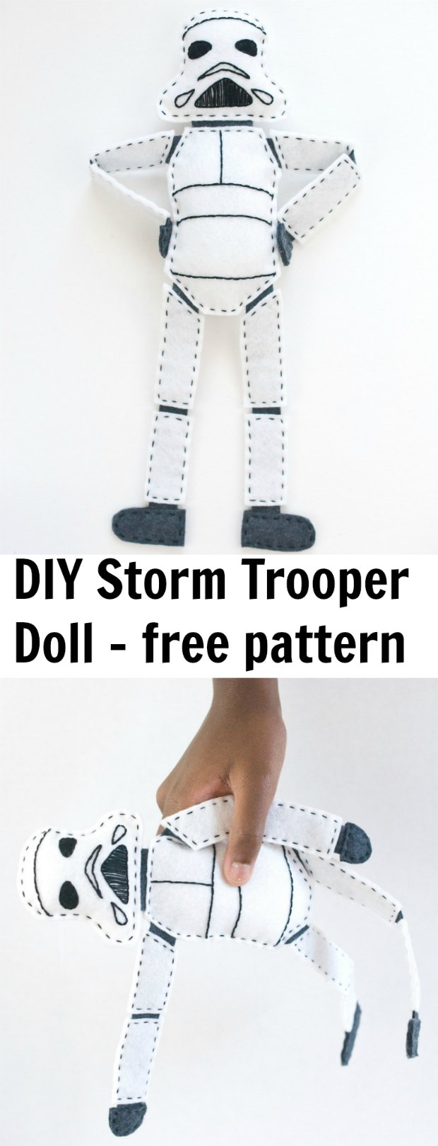 Fun Storm Trooper Star Wars doll to sew. Free sewing pattern.