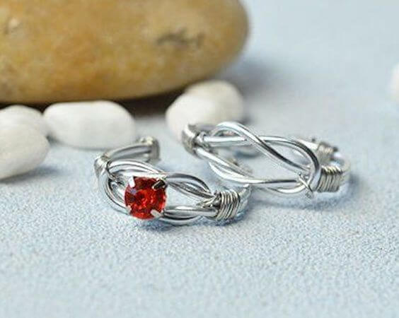 37. DIY Wire Wrapped Couple Rings by Beebeecraft