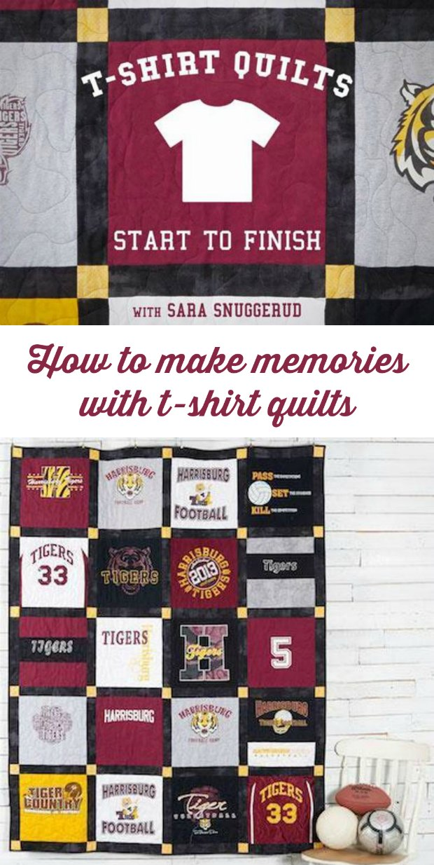 How to make t-shirt quilts. Video lesson from start to finish. Choosing the right t-shirts, cutting, stabilising, sewing, layering, quilting and binding. Everything in one great class!