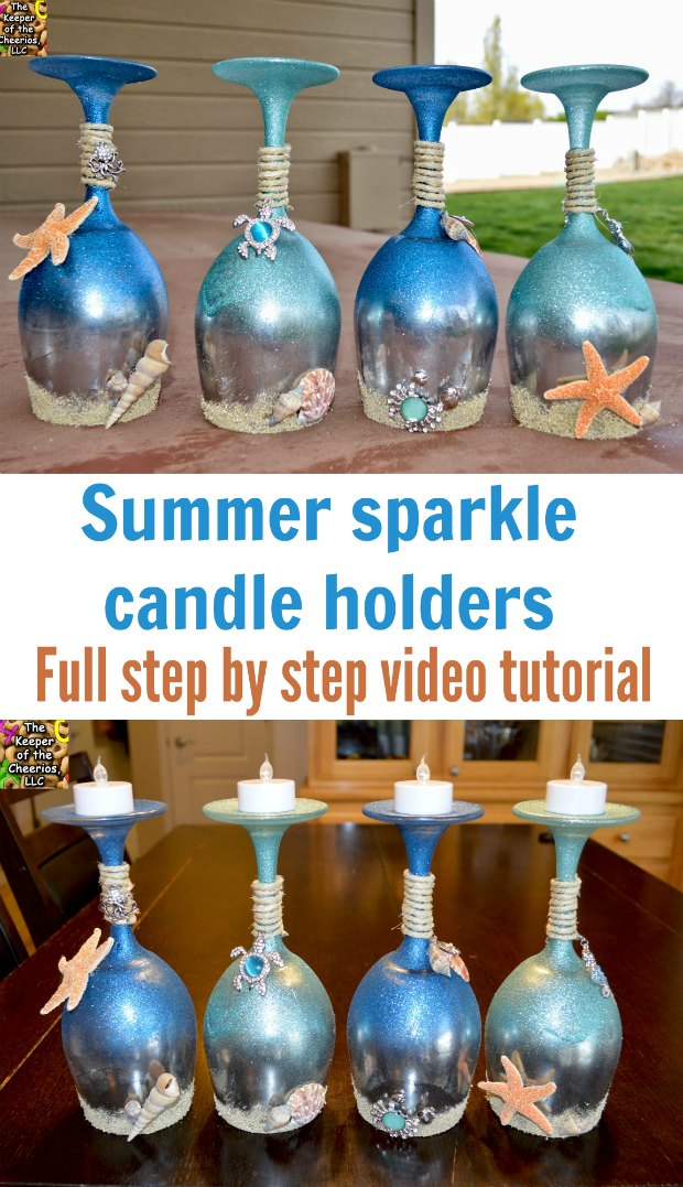 Blown away by how gorgeous these are. DIY wine glass candle holders. Video shows you how to make them.