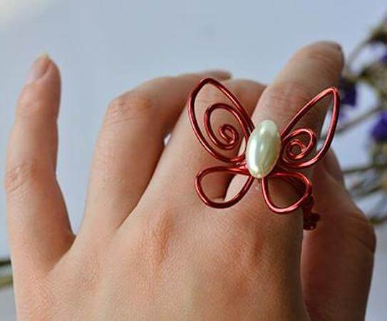 Wire Wrapped Butterfly Ring by Panda Hall