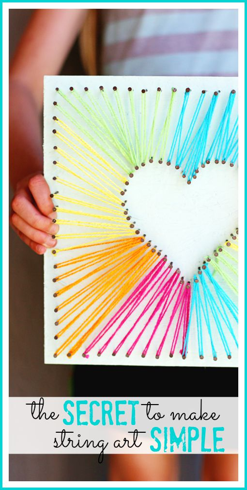 DIY Heart String Art Free Tutorial and Video, Kids Crafts Art