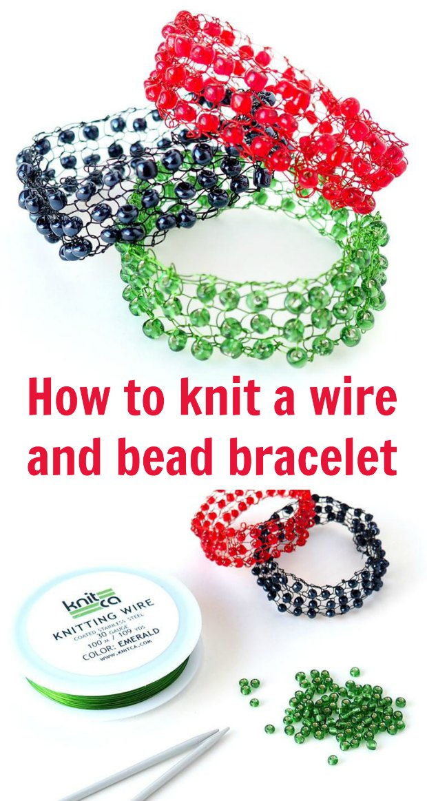How to make a wire and bead bracelet with knitting wire. I never knew it was so easy. I've never knitted before but I made it beautifully first time.