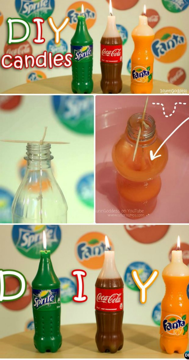 How to make your own candles that look like soda. No fancy equipment needed, this is easy! And they look so real too.