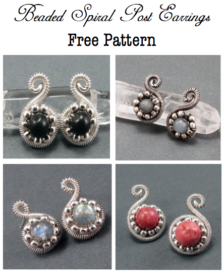 Beaded Spiral Post Earrings Free Pattern