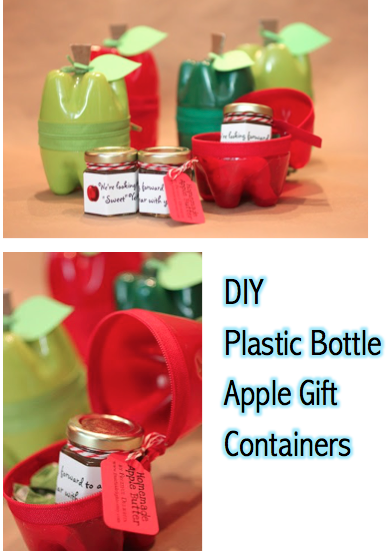 DIY Recycled Plastic Bottle Apple Gift Container