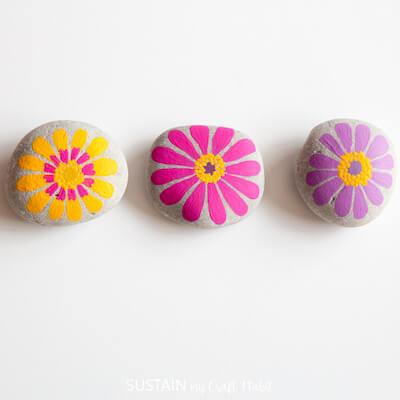 Flower Painted Rocks by Sustain My Craft Habit