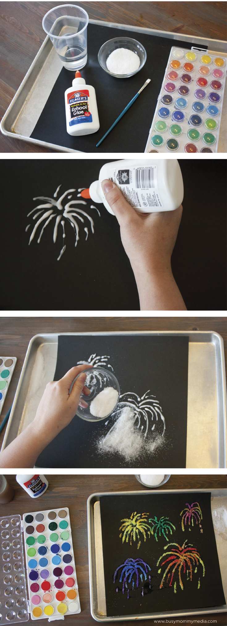 Amazing idea for salt painting fireworks. 4th July, New Year, Bonfire Night. Kids salt painting craft idea.