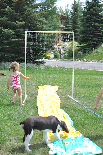 Make A Kids Sprinkler For Some Summer Yard Fun