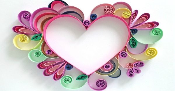 Quilling paper hearts