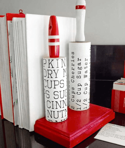 DIY Bookends Made From Vintage Rolling Pins by Mod Podge