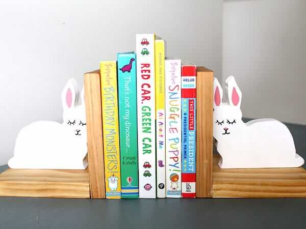 DIY Bunny Bookends by Just Measuring Up