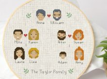 Personalized Family Tree Cross Stitch Pattern