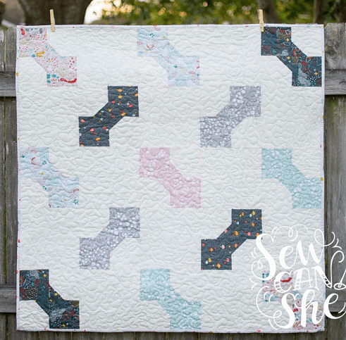 Bow Tie Baby Quilt Pattern by Sew Can She