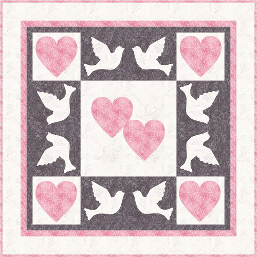 Dove And Heart Wedding Quilt Pattern by Whimsy Color