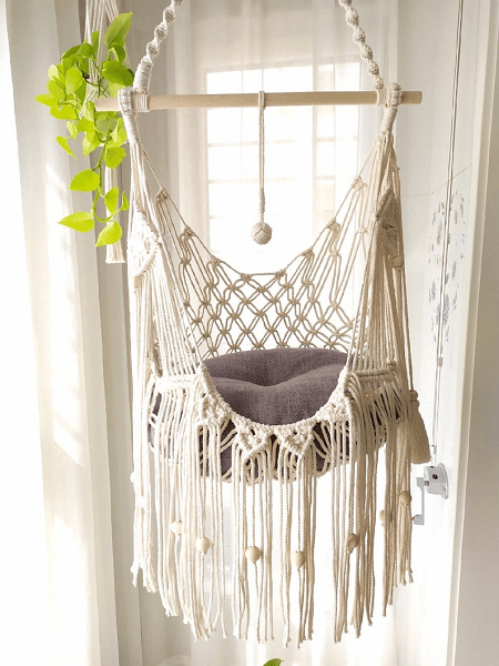 Hanging Macrame Cat Hammock From Motta Gifts Studio