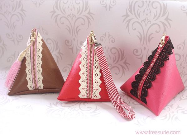 Leather Triangle Pouch Pattern by Treasurie
