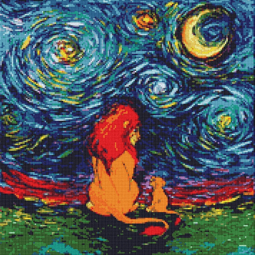 Lion King In Starry Night Cross Stitch Pattern by Di Stefano Art