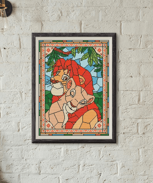 Lion King Stained Glass Cross Stitch Pattern by Avrora CS