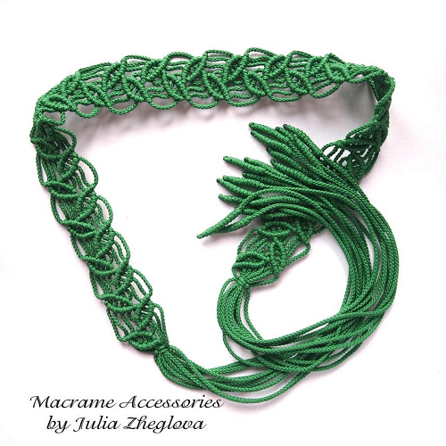 Macrame Tie Belt With Leaves Pattern by Makrame