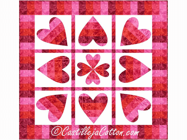 Pivoting Hearts Wedding Wall Quilt Pattern by Castilleja Cotton