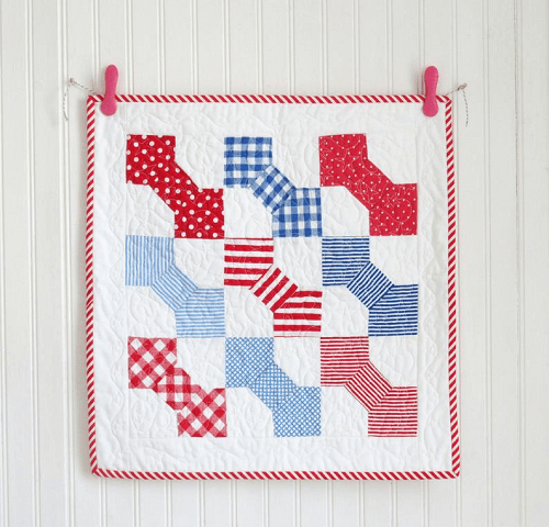 Red And Blue Bow Tie Mini Quilt Pattern by Helen Philipps Designs
