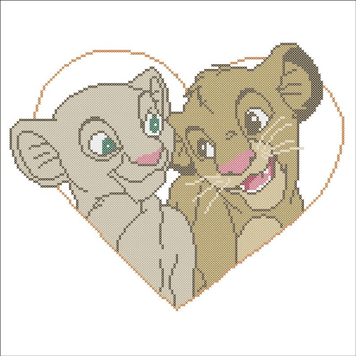 Simba Nala Cross Stitch Pattern by Rainbow Stitch Cross