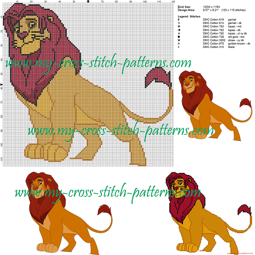 Simba The Lion King Cross Stitch Pattern by My Cross Stitch Patterns