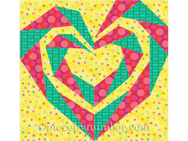 Twisting Spiral Heart Wedding Quilt Pattern by Piece By Number Quilts