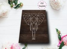 DIY Elephant Geometric String Art Template
