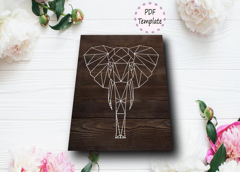 DIY Elephant Geometric String Art Template