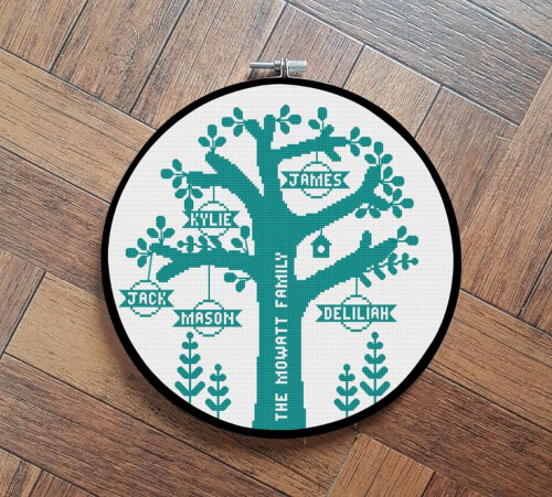 Personalised Family Tree Cross Stitch Pattern by FreckleDoll