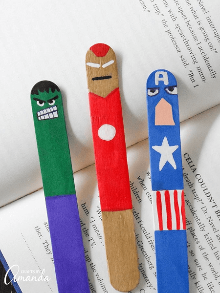Avengers Bookmark Popsicle Stick Crafts by Crafts By Amanda