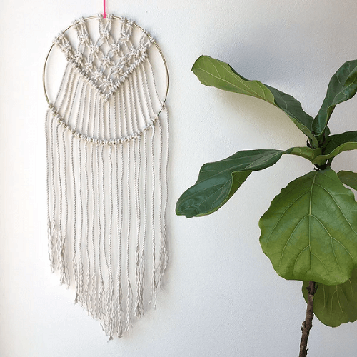 Brass Ring Macrame Dream Catcher Wall Hanging Pattern by Brooklyn Craft Company