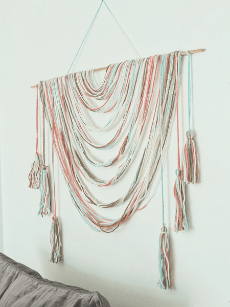 Colorful Macrame Wall Hanging Pattern by Made By Carli