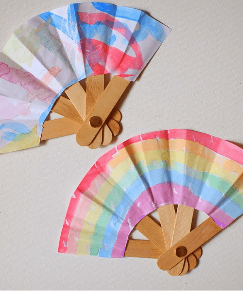 Folding Popsicle Stick Fans by Pink Stripey Socks