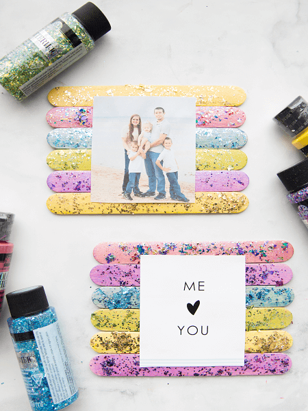Glitter Popsicle Stick Frame by Made To Be A Momma