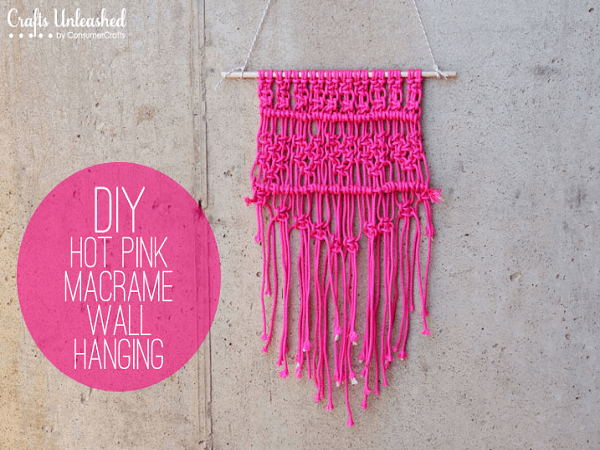 Hot Pink Macrame Wall Hanging Pattern by Consumer Crafts